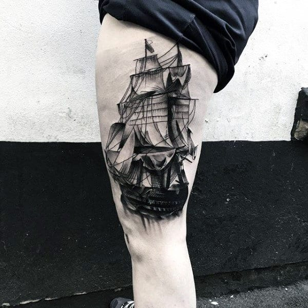Sailing Ship Insane Thigh Tattoos For Males