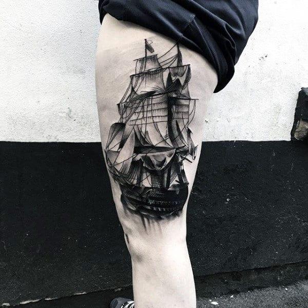 Sailing Ship Insane Thigh Tattoos For Males