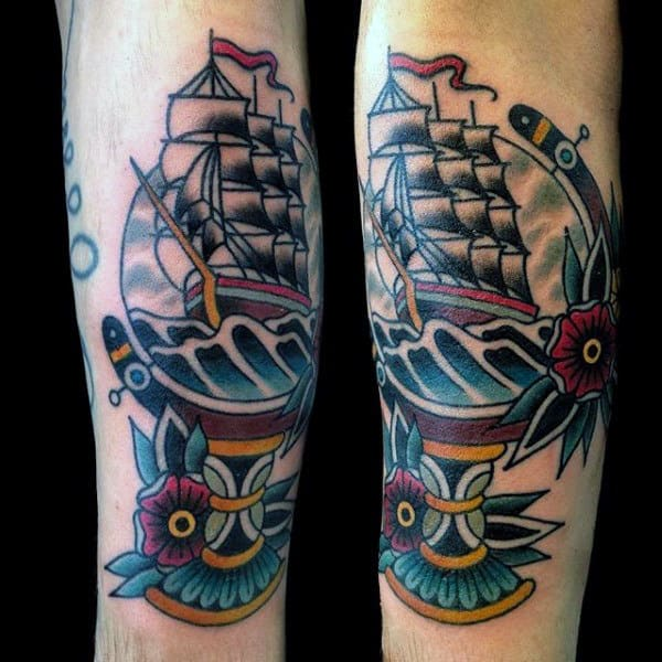 Sailing Ship Mens Old School Globe Outer Forearm Tattoos