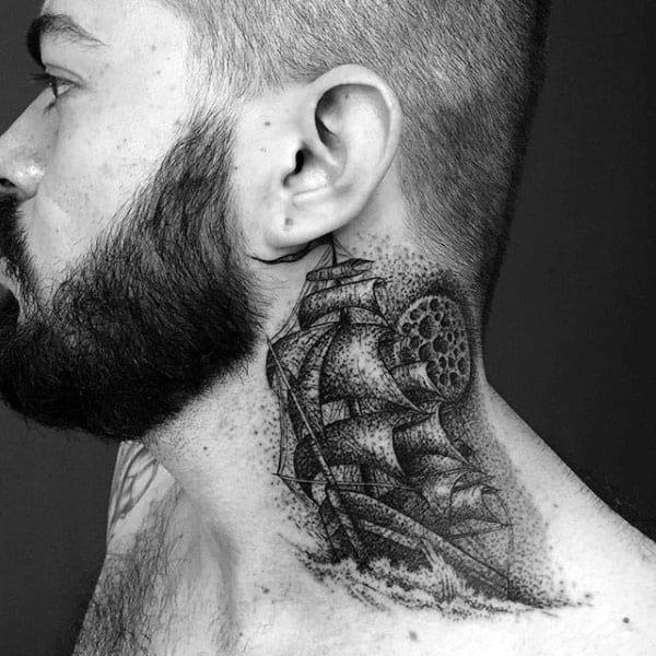 Sailing Ship Mens Pointillism Neck Tattoos