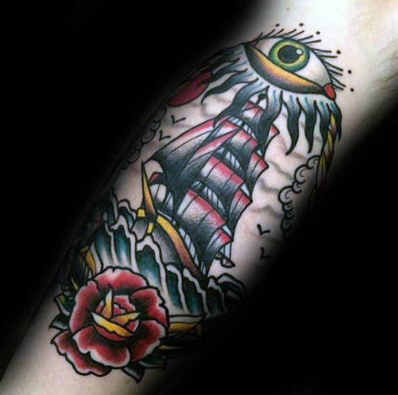 Sailing Ship Nautical Mens Eye Traditional Leg Tattoos
