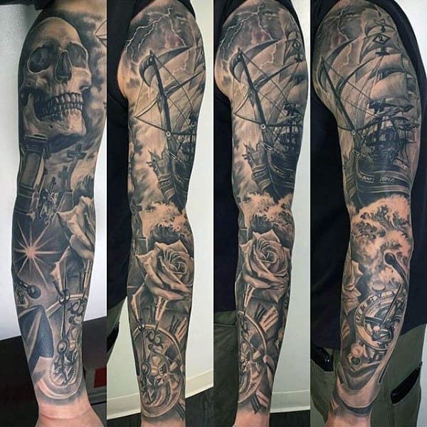 Sailing Ship Nautical Themed Guys Black Ink Full Sleeve Tattoo