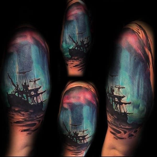 Sailing Ship Northern Lights Half Sleeve Tattoos For Men