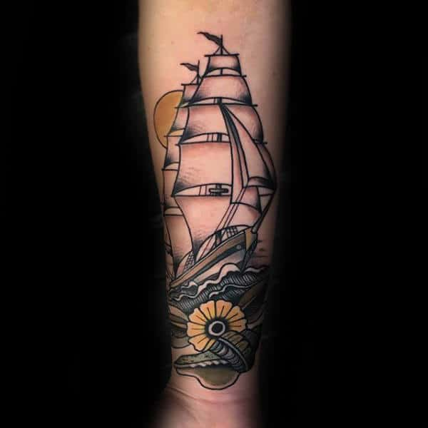 Sailing Ship Old School Tattoo For Men With Seashell