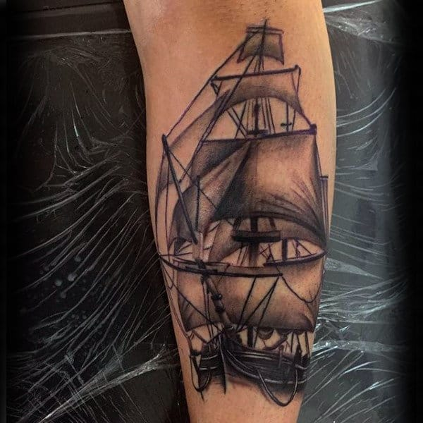 Sailing Ship Realistic Shin Tattoos For Guys