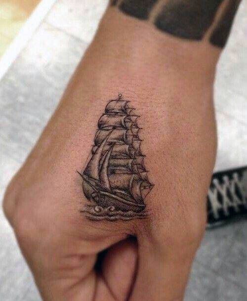 Sailing Ship Simple Hand Tattoo Designs For Males