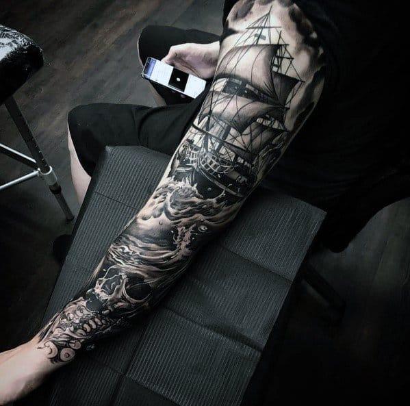 Sailing Ship Sleeve Tattoo Ideas Big