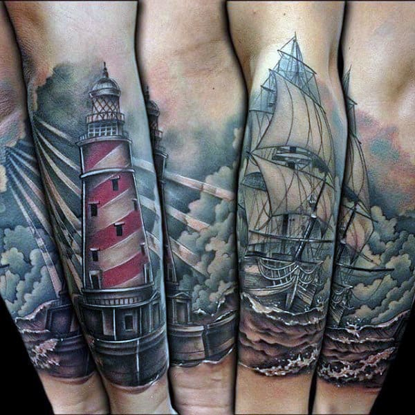 Sailing Ship Tattoo For Males Half Sleeve