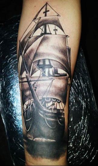 Sailing Ship Tattoo On Man