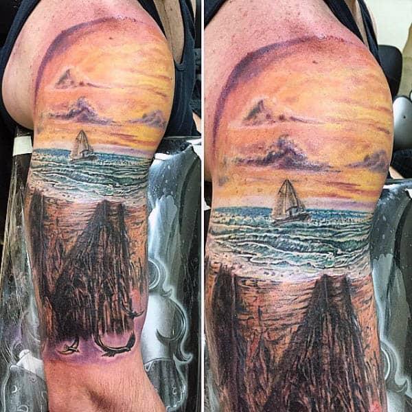 Sailing Ship Tattoos For Guys