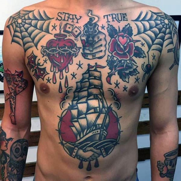Sailing Ship Traditional Male Chest Tattoos