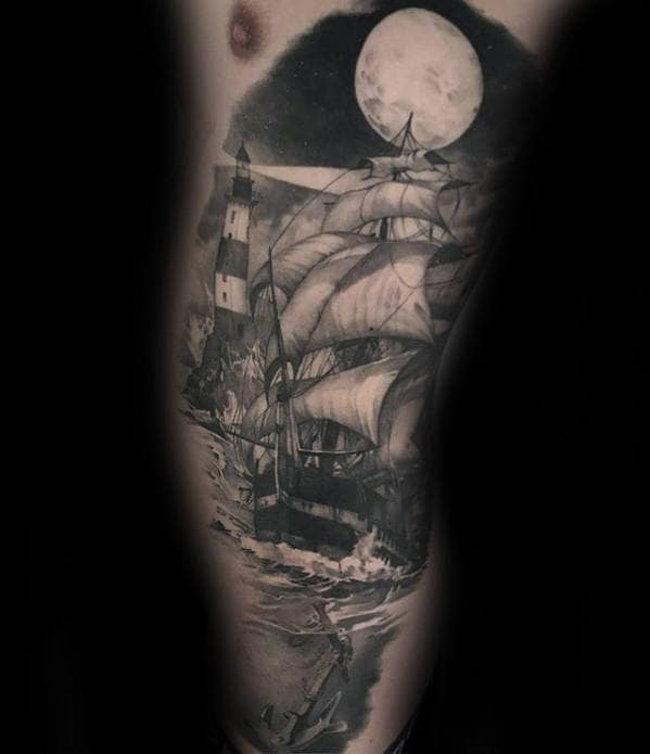 Sailing Ship Under Moonlight Guys Hyper Realistic Rib Cage Side Tattoo