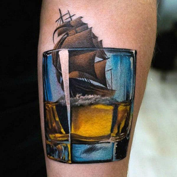 Sailing Ship With 3d Whiskey Glass Guys Jack Daniels Arm Tattoo Ideas