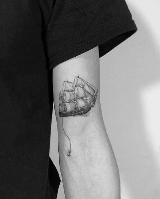 Sailing Ship With Anchor Mens Small Detailed Arm Tattoo Ideas