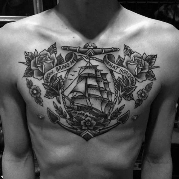 Sailing Ship With Anchor Traditional Tattoo Design Ideas For Men