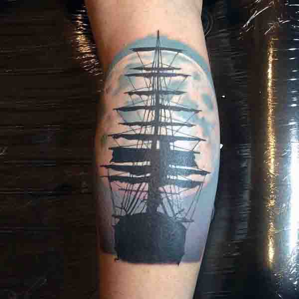 Sailing Ship With Blue Moon Background Tattoo On Leg Calf For Men