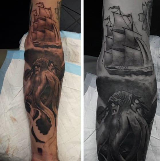 Sailing Ship With Cthulhu Underwater Mens Full Sleeve Tattoo