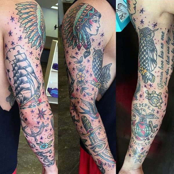 Sailing Ship With Dagger Traditional Sleeve Male Tattoos
