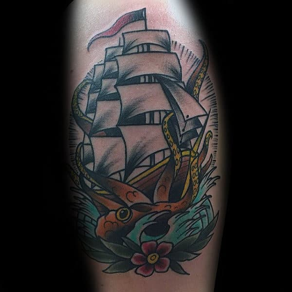 Sailing Ship With Flower And Traditional Octopus Mens Arm Tattoos
