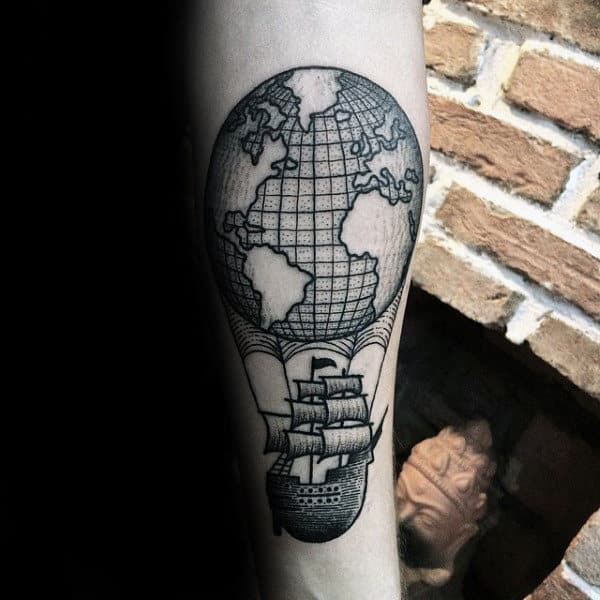 Sailing Ship With Globe Mens Forearm Sleeves Tattoos