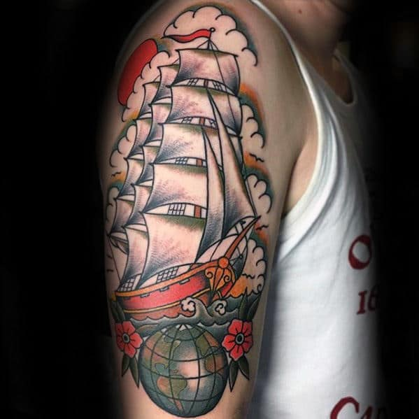 Sailing Ship With Globe Wanderlust Guys Arm Tattoo