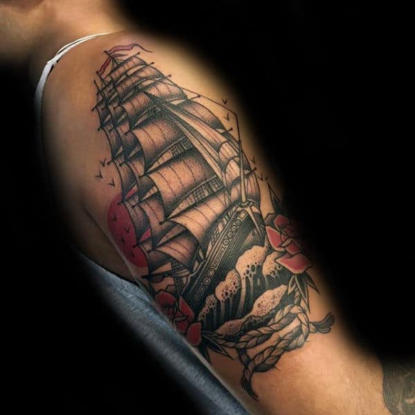 Sailing Ship With Knot Arm Tattoos For Guys