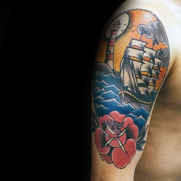 Sailing Ship With Lighthouse And Rose Mens Traditional Arm Tattoo