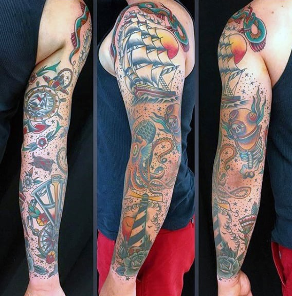 Sailing Ship With Lighthouse Mens Traditional Sleeve Tattoo Inspiration