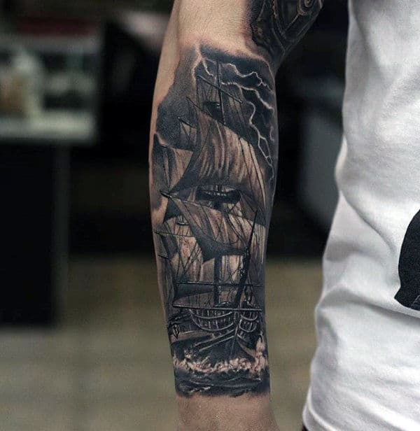 Sailing Ship With Lighting Detailed Forearm Sleeve Tattoos For Men