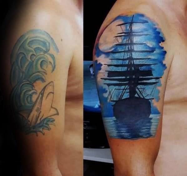 Sailing Ship With Moon Cover Up Watercolor Arm Tattoos For Men