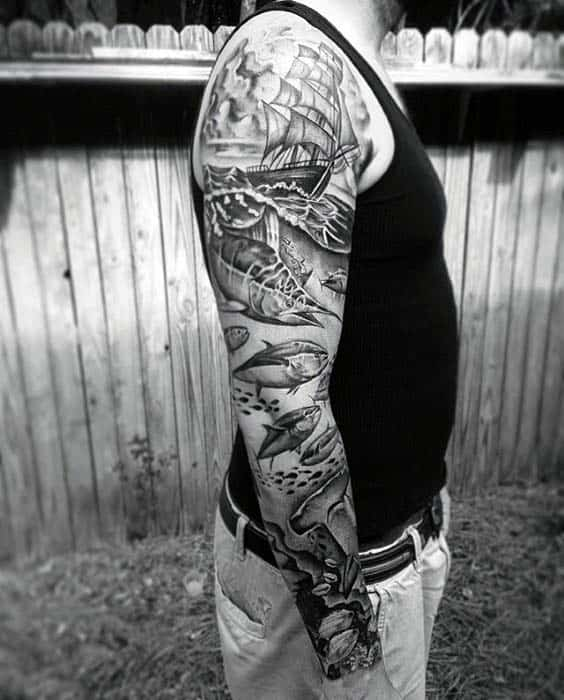 40 nautical sleeve tattoos for men seafaring ink deisgn for Ocean tattoos black and white