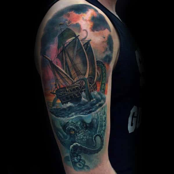 Sailing Ship With Octopus Underwater Mens 3d Realistic Arm Tattoos