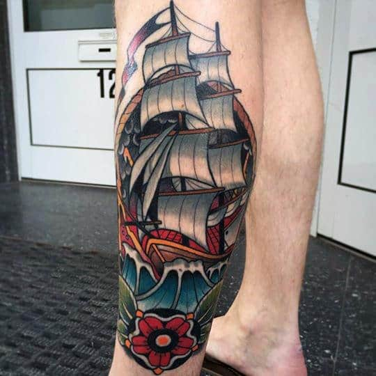 Sailing Ship With Red Flower Male Side Of Leg Traditional Tattoos