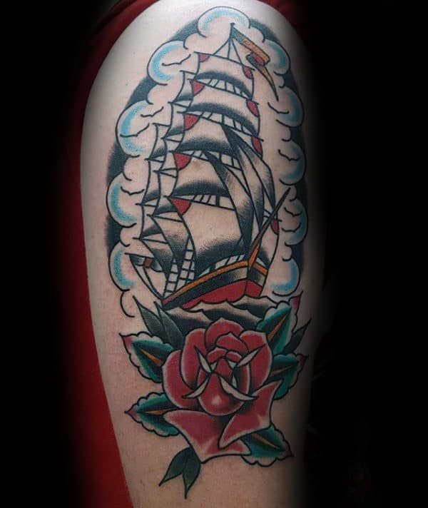 Sailing Ship With Red Rose Traditional Arm Tattoo Ideas For Guys