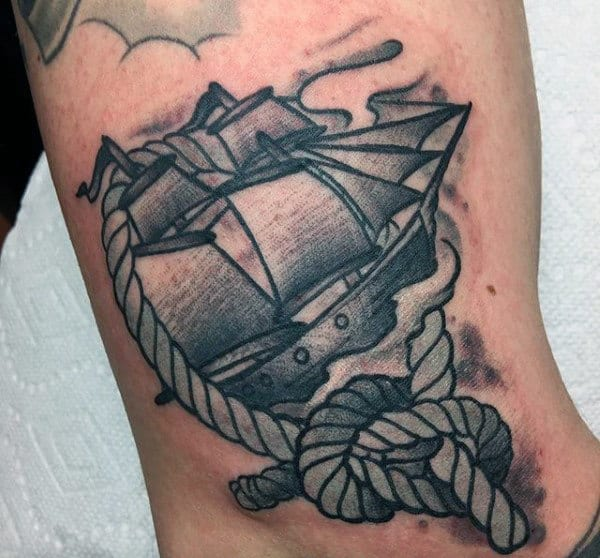 Sailing Ship With Rope Mens Old School Arm Tattoos