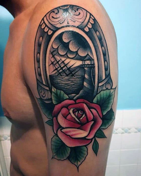 Sailing Ship With Rose Flower And Horseshoe Mens Traditional Arm Tattoo