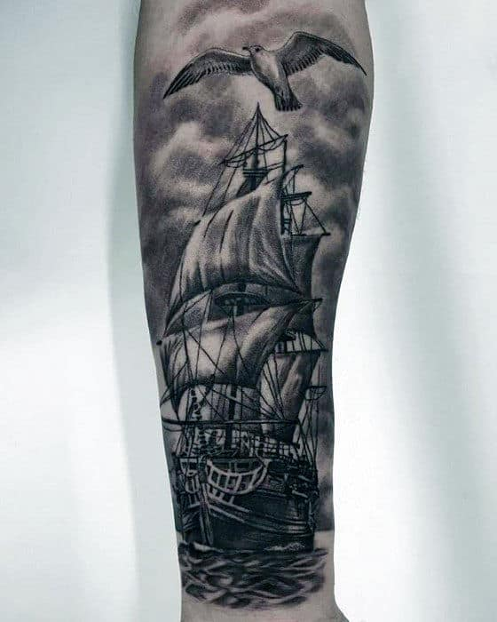 Sailing Ship With Seagull Mens Forearm Sleeve Tattoos