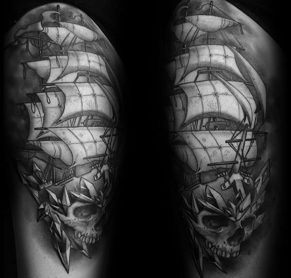 Sailing Ship With Skull And Crystals Guys Shaded Thigh Tattoos