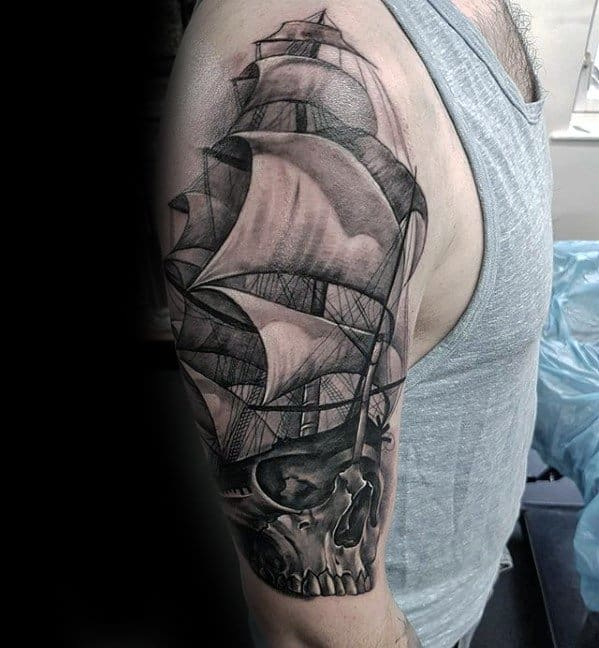 Sailing Ship With Skull Shaded Black And Grey Half Sleeve Incredible Tattoos For Males