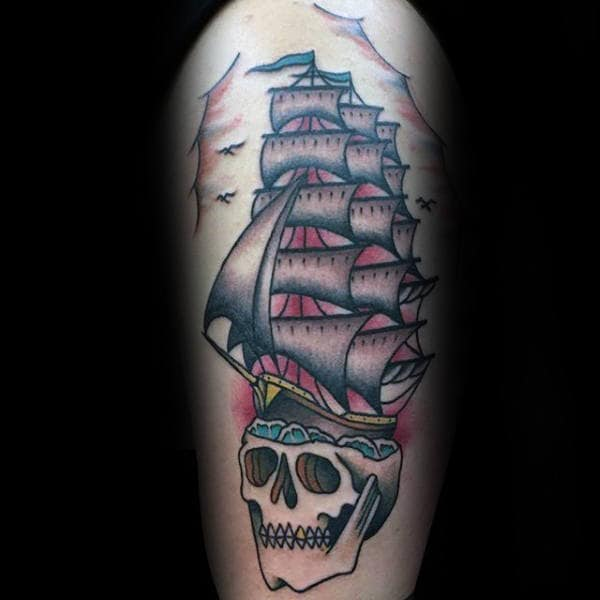 Sailing Ship With Skull Traditional Mens Arm Tattoos