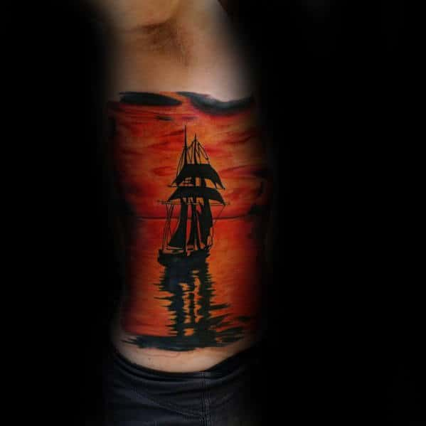 Sailing Ship With Sunset Unusual Full Rib Cage Side Tattoos For Men