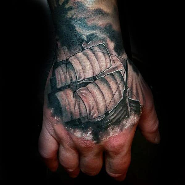 Sailing Ship With White And Grey Ink Guys 3d Hand Tattoo