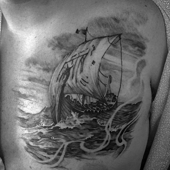 Sailing Viking Ship Badass Chest Tattoos For Men