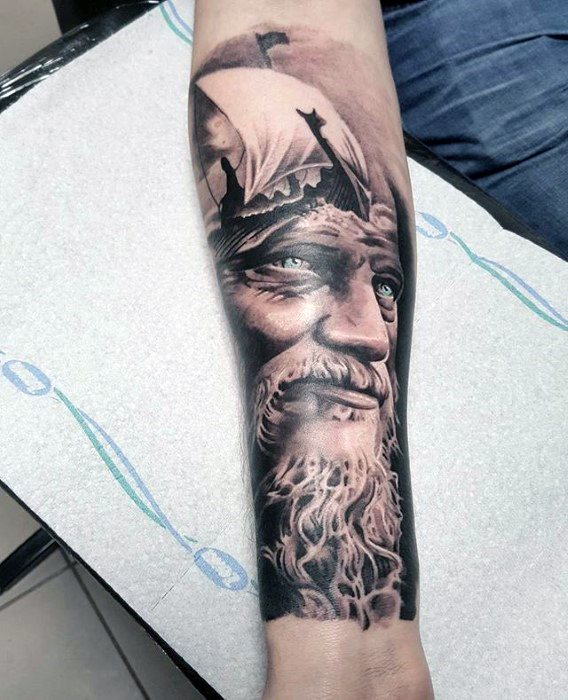 Sailing Viking Ship With Ragnar Tattoo Design Ideas For Males Forearm Sleeve