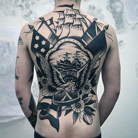 Sailor Jerry Awesome Mens Back Tattoos With Ship And Eagle