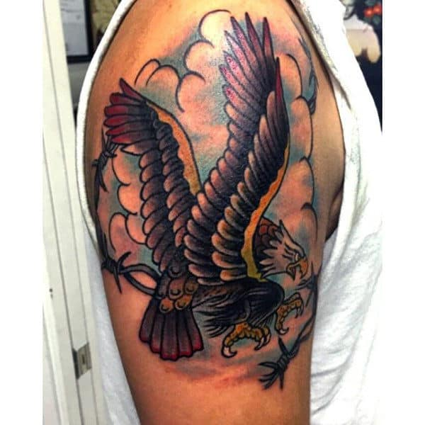 Sailor Jerry Barbed Wire Eagle Upper Arm Guys Tattoos