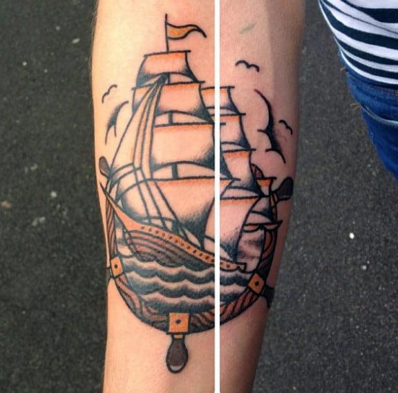 Sailor Jerry Ship Wheel Forearm Tattoo For Men
