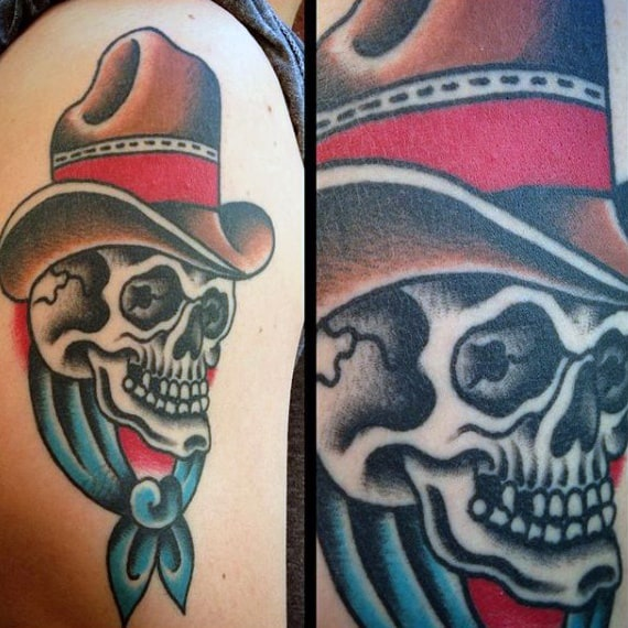 Sailor Jerry Skull Tattoo Red And Blue Cowboy Hat For Guys