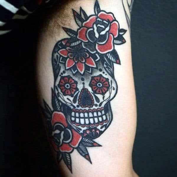 Sailor Jerry Style Sugar Skull Mens Bicep Tattoo With Flowers