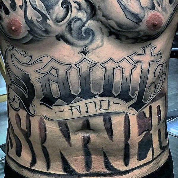 Saint And Sinner Words Stomach Mens Tattoos